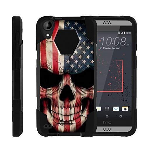 turtlearmor | Kompatibel für HTC Desire 530Fall | Desire 630| Desire 550[Dynamischer Shell] Hybrid Dual Layer Hard Shell Ständer Silikon Fall -, US Flag Skull (Htc Desire Virgin Mobile Fall)