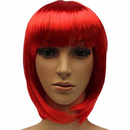 WeALake Perücke, kurzer Bob-Haar, 25,4 cm, glatt, mit flachen Pony, Kunsthaar, für Kostüm, Ball Club, Rave Party, Halloween
