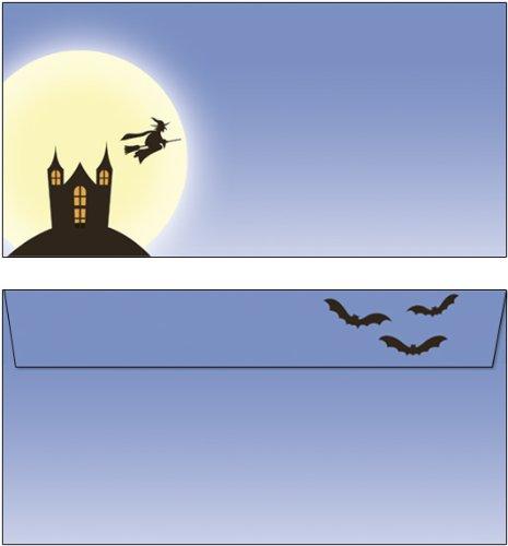 Briefumschläge Halloween im Geisterschloß 15 Stück Kuverts DIN lang ohne Fenster 6230-15