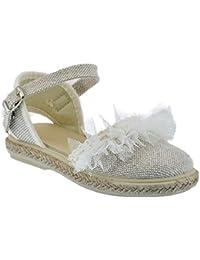 Zapato de Tejido Tipo Lino Ceremonia en Color beig Combinado con Tul y Piso de Yute