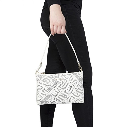 Love Moschino Embossed Logo Femme Clutch Bag Blanc Blanc
