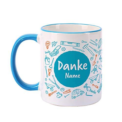 Herz & Heim® Danke Tasse mit Namen für Handwerker oder Heimwerker