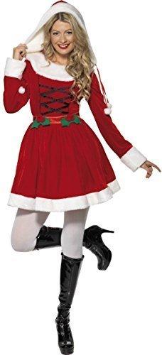 Damen Stechpalmen Claus Miss Santa Weihnachten Mrs Weihnachten Festlich Kostüm Kleid Outfit - Rot, 8-10