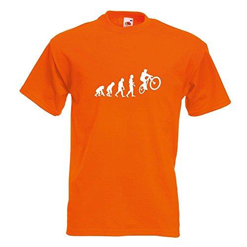 KIWISTAR - Evolution Mountainbike Radfahren T-Shirt in 15 verschiedenen Farben - Herren Funshirt bedruckt Design Sprüche Spruch Motive Oberteil Baumwolle Print Größe S M L XL XXL Orange