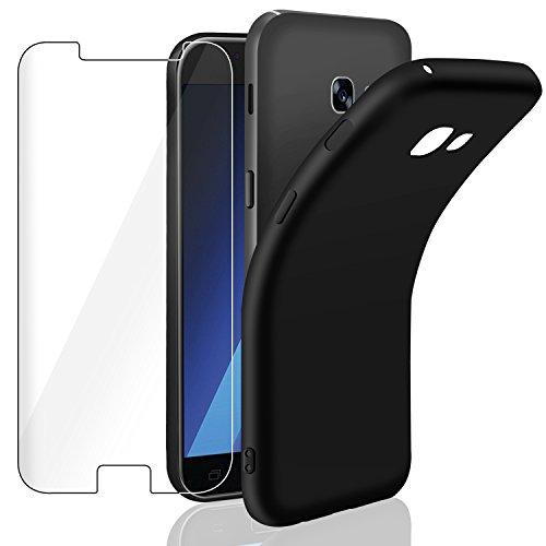 Cover Samsung A5 2017 + Pellicola Protettiva in Vetro Temperato, Leathlux  Custodia Samsung A5 2017 Nero Silicone Case Molle di TPU Morbido