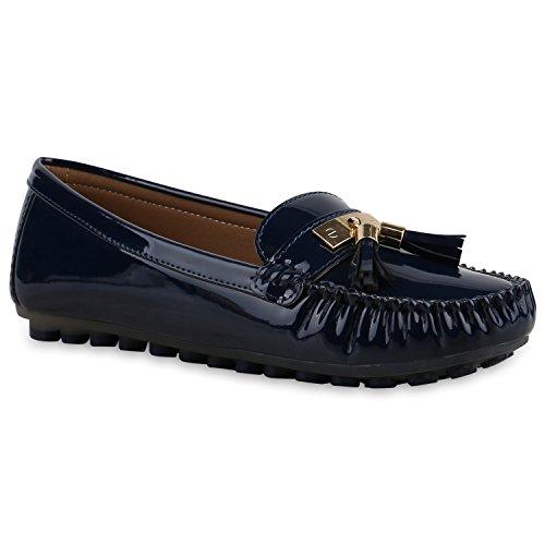 Damen Slipper Pastell Flats Schuhe Lederoptik Dunkelblau Lack Quasten
