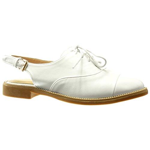 Angkorly Damen Schuhe Brogue Schuh Sandalen - Offen - Schleife - Fertig Steppnähte Blockabsatz 2 cm Weiß