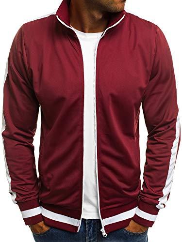OZONEE Herren Sweatshirt Sweatjacke Sportjacke Pullover Pulli Basic Klassiker Longsleeve O/2126 WEINROT L