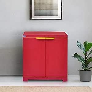 Nilkamal Freedom Mini Small Plastic Cabinet Red , 2 Doors