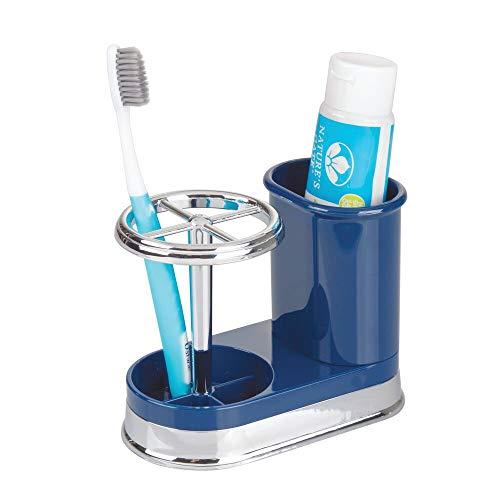 mDesign Zahnbürstenhalter - hochwertiger Zahnputzbecher für Waschbecken oder Badschrank aus Kunststoff mit Chrom-Finish - ideale Halterung für Zahnbürsten und Zahnpasta - navyblau/silberfarben