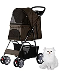 Homgrace Carrito para mascotas plegable y impermeable, Carrito con ruedas para perros y gatos 82 x 45 x 97cm color café