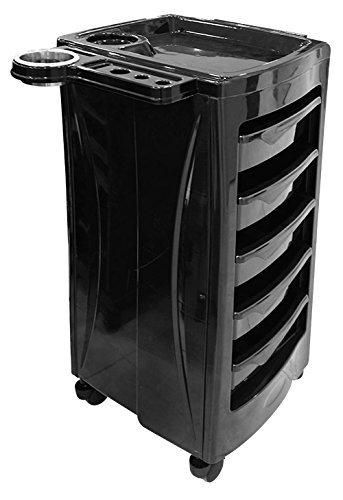 Schwarze Fünf Schubladen (Crisnails® Friseurwagen auf Rollen Salon Wagen mit 5 Schubladen Schwarz (CR022))
