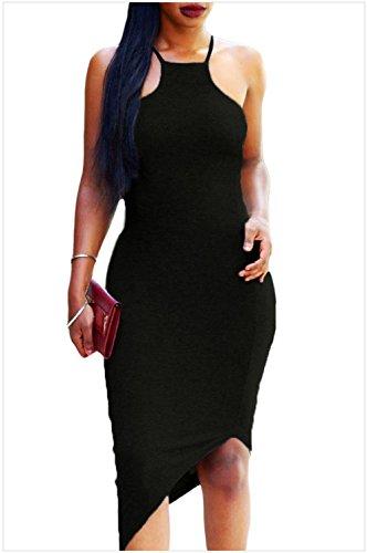meinice Oblique Hem cinghia di spaghetti vestito Black Large