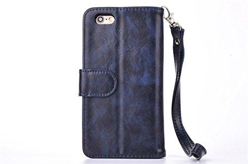 CaseforYou Hülle iPhone SE 5SE 5 5S Schutz Portemonnaie Schalen Taschen Magnetic Detachable Wallet Case Flip Cover Protective Shell Hülse mit Closure Schutzhülle für iPhone SE 5SE 5 5S Handy (Black) Dunkelblau