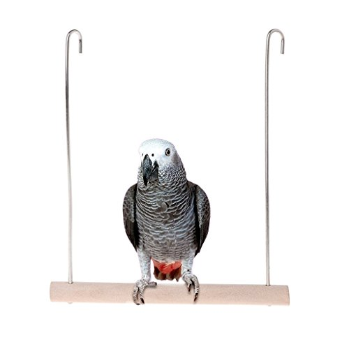 Vektenxi Premium-Qualität natürliche hölzerne Vögel Barsch, Papageien hängen Schaukel Käfig Anhänger Spielzeug Ständer Inhaber -