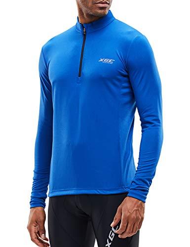Herren Langarm Radtrikot Fahrradtrikot Radshirt Fahrradshirts Fahrradbekleidung für Männer mit Elastische Atmungsaktive Schnell Trocknen Stoff (Blue, XXXL)