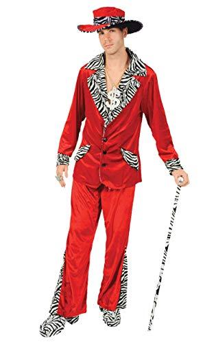 Kostüm Auffällig Pimp - Zuhälter Kostüm in Rot mit Hut Karneval Fasching Verkleidung Herren Small