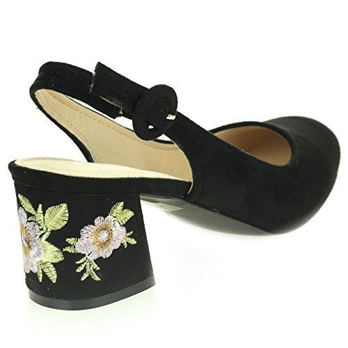 Femmes Dames Décontractée Confort Tous les jours Moyen Bloc Talon Slingback Des sandales Chaussures Taille Noir