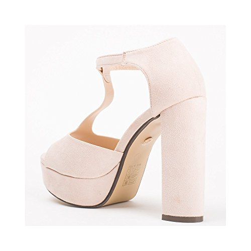 Ideal Shoes Sandales Effet Daim à Talons Épais Valiana Beige