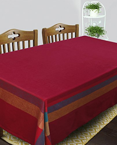Dhrohar Cotton Maroon Table Cover for 6 Seater Table