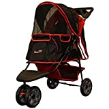 Pet Stroller ALL Terrain, IPS-01 Red/Black, dog carrier, trolley, Trailer, Innopet, Buggy. Foldable pet buggy, pushchair, pram for dogs and cats