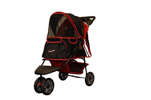 Pet Passeggino All Terrain, IPS-01Trasportino, colore: rosso/nero, Carrello, Rimorchio, Innopet, Passeggino. Pieghevole Pet buggy, passeggino, carrozzina per cani e gatti