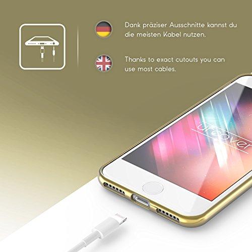 Urcover® Apple iPhone 7 Hülle mit Oriental Muster in Rose Gold / Weiß | Silikon Backcase Schutz-hülle | flexibel weich TPU | Diamanten Diamonds Case stylisches Cover Smartphone Zubehör Gold / Weiß