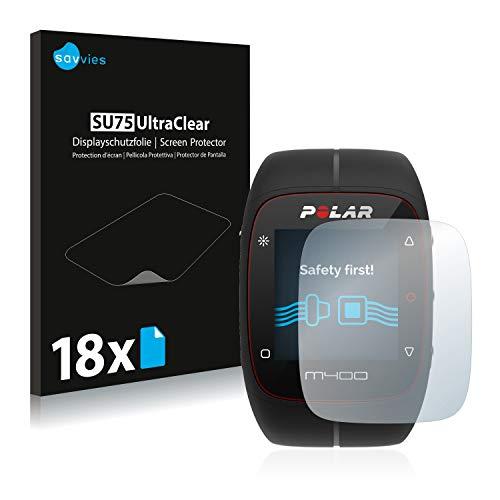 Savvies Schutzfolie kompatibel mit Polar M400 / M430 (18 Stück) - ultraklare Bildschirmschutz-Folie