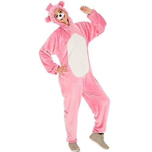 Dressforfun costume da orso per lui e per lei | in soffice tessuto di peluche | incl. naso con elastico (rosa | l | no. 300879)