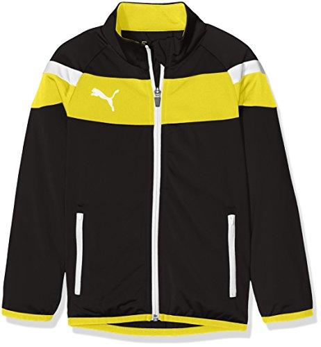PUMA Kinder Jacke Spirit II Polyester Tricot Jacket, Black-Cyber Yellow, 140