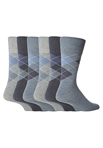 Gentle Grip 6 Paires Homme pas de chaussettes élastiques, 39-45 eur couleurs assorties carrés (39-45 Eur, MGG21)