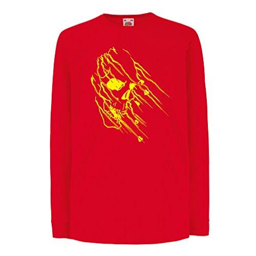 N4686D Kinder-T-Shirt mit langen Ärmeln Art skull - vintage t shirts (7-8 years Rot Mehrfarben)