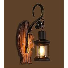 PinWei Progetto Hotel La lampada da parete di corridoio Lampade da parete in legno massello, i ripari della parete dell'annata, battuto lampada da parete di ferro (400 * 300mm) , vintage wall 40w (without lamp)