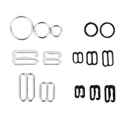 Sharplace Bikini Click Verschluß Dessous Einstellbar Nähen BH Ringe Schnallen Verschiedene Muster und Größen - Black, 10mmx8mm Slider -
