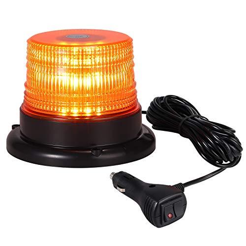 40 LED Rundumleuchte Blitzleuchte 7 Modus mit 5m Netzkabel Doppelter Schraube 12/24V Amber Warnleuchte Magnetische Notfallblinklampe Wiederherstellungswarnung gelbes Licht der Decke (Gelb-decken)