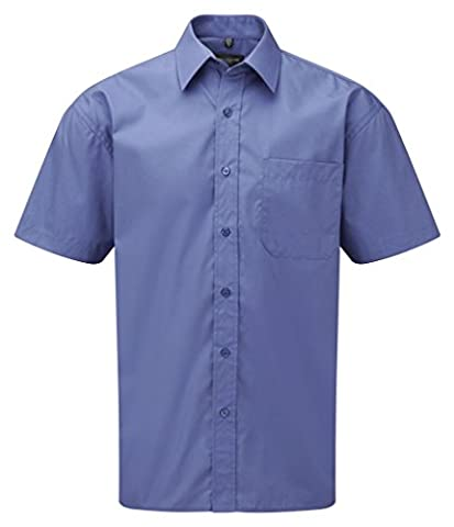Russell Collection Short Sleeve Easy Care Cotton Poplin Shirt : Color - Aztec Blue : Size - L