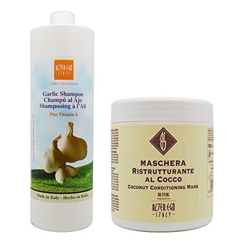 Alter Ego Garlic Shampoo Plus Vitamin A & Maschera Ristrutturante Al Cocco Coconut Conditioning Mask 1000ml Set by Alter Ego Italy