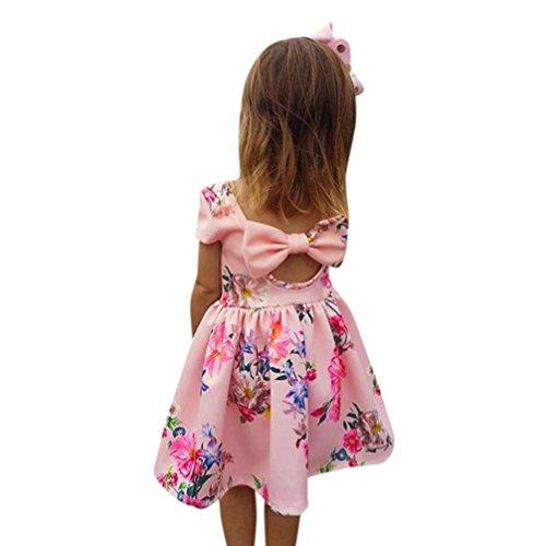 der Baby Mädchen Hohle Zurück Blumendruck Bowknot Prinzessin Party Pageant Outfit 2-6 T/Jahre alt (Rosa, 4T) (Party-stadt, Kleinkind)