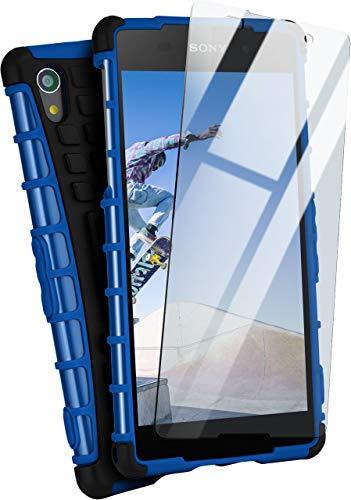 moex® Panzer-Schutz Set - Tank Case + Schutzglas passend für Sony Xperia Z2 | Gehärtetes Glas + Extrem robuste Double-Layer Hülle, Blau Schwarz
