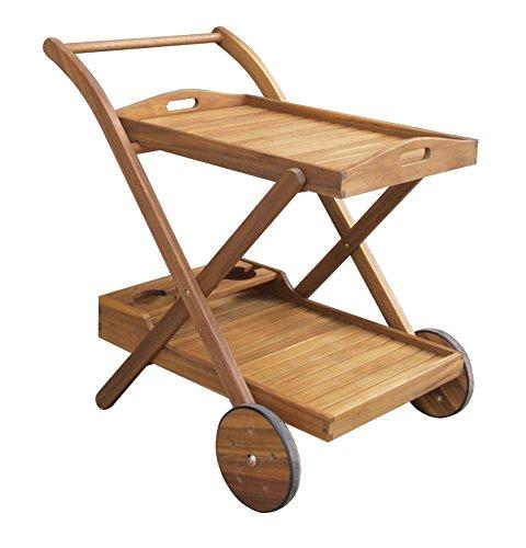 Benelando Teewagen Servierwagen Aus Akazienholz Mit Abnehmbarem Tablett