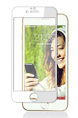Protezione Schermo per iPhone 7 Plus (Bordo Bianco) 3D Copertura Totale da SWISS-QA, Miglior Vetro Temperato Anti Graffio, Trasparenza 99%, Perfetto Per Tutte Le Cover iPhone -soddisfatti o