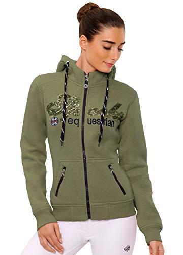 Zip-front-strickjacke (SPOOKS Damen Sweatjacke, Kapuzen-Jacke Mädchen Kinder Frauen, Zipper Hoodie - Sommerjacke bequem & anschmiegsam, Roxie Sequin Jacket - Olive s)