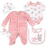 Bonjour Bebe Set Mädchen weiß rosa | Motiv: Hase Katze | 5 Teile Strampler, Body, Mütze, Handschuhe, Latz für Neugeborene & Kleinkinder | Größe: 0-3 Monate (56/62)