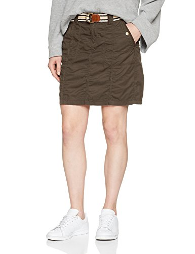 edc by ESPRIT Damen Rock 038CC1D004, Grün (Khaki Green 350), 36
