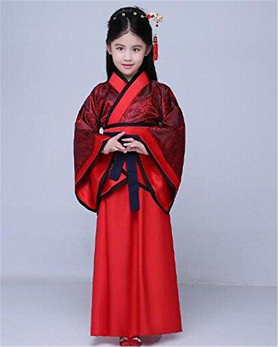 peiwen Mädchen Bühne Kostüm/Tanz Show Kleidung/Chinesisch Hanfu/Kinder und Erwachsene, deep red, 165