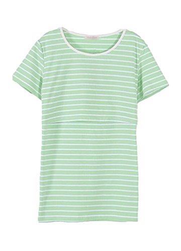 Anguang Donna A righe Nursing Tops Breastfeeding maglietta a Maniche Corte Camicetta Verde