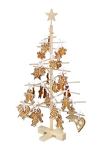xmas3S - Albero di Natale in legno, naturale, 48x 48x 75cm