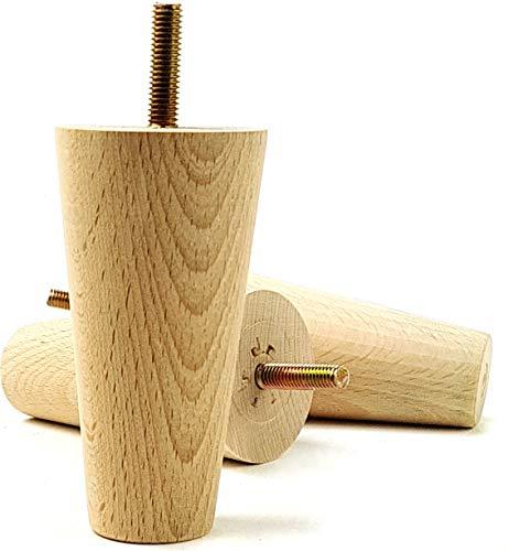 KNIGHTSBRANDNU2U Pieds de Meubles en Bois pour Pieds de Remplacement pour canapés, chaises, canapés – Lot de 4–100 mm de Haut – M8 (8 mm) – Pkc2117 a