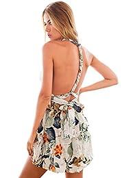 LookbookStore Damen Veränderbares Infinity Mini-Kleid mit Buntem Druck