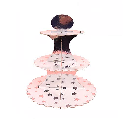Zhangcaiyun-Home 3-Pack Karton Cupcake Stand Dessert Turm 3 Tier Papier Kuchen Stand für Hochzeit/Geburtstag/Baby Shower/Quinceanera/Party-Dekorationen Supplies Party Food Server Anzeigeset